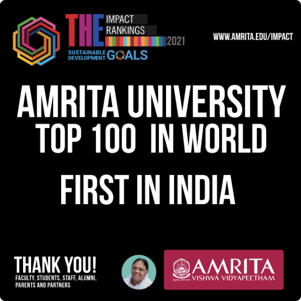 Amrita Vishwa Vidyapeetham becomes the only Indian university in top 100 institutes in the world
